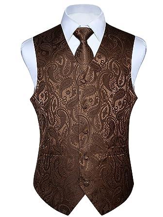 7bdaebb825510 HISDERN Men's Paisley Jacquard Solid Waistcoat & Necktie and Pocket Square  Vest Suit Tuxedo Set Brown