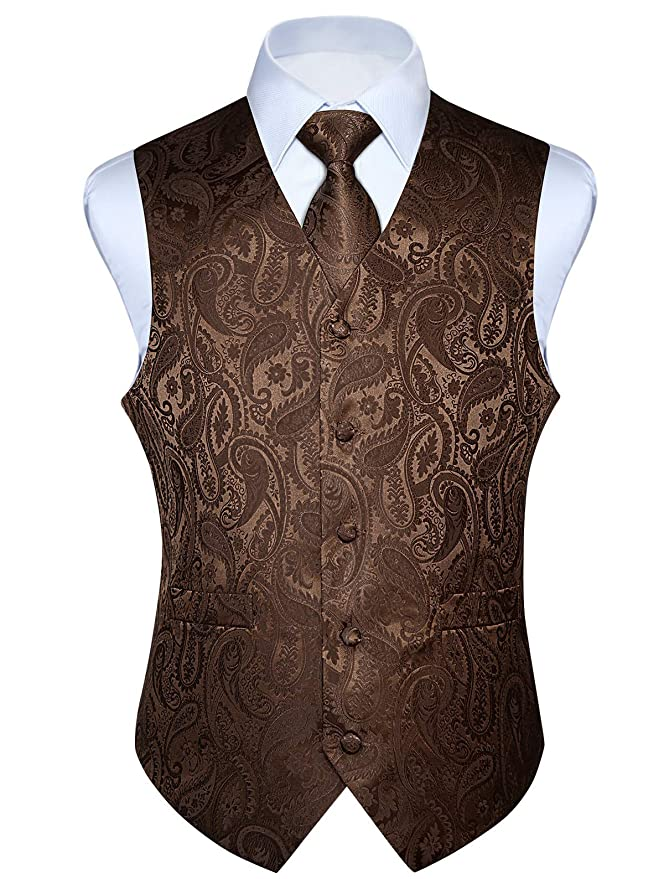 Men's Steampunk Clothing, Costumes, Fashion HISDERN Mens Paisley Floral Jacquard Waistcoat & Necktie and Pocket Square Vest Suit Set $29.99 AT vintagedancer.com