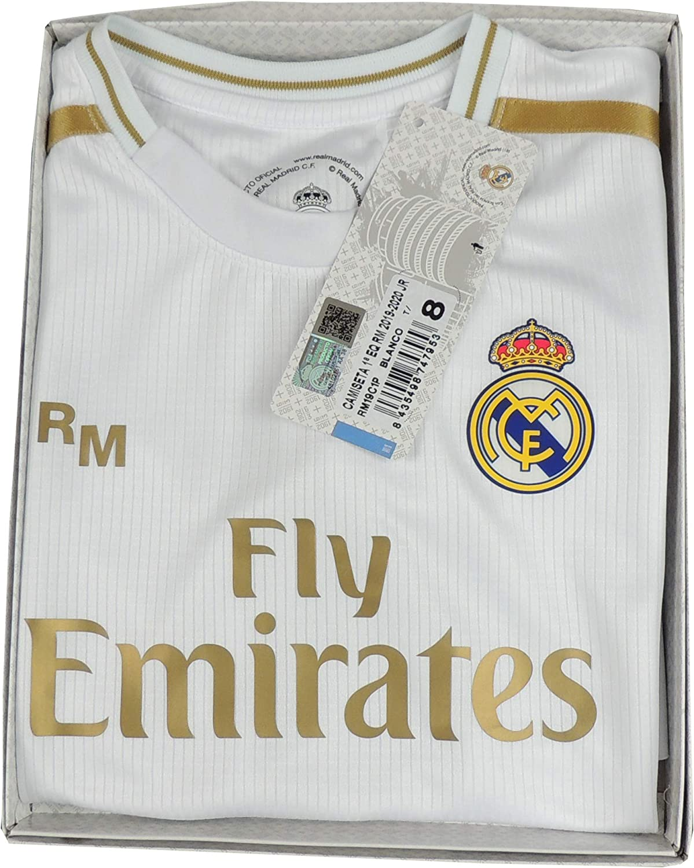 Jugadores Real Madrid Camiseta Infantil Primera Equipaci/ón Temporada 2019-20 Producto Oficial Licenciado Color Blanco