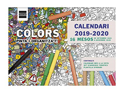 Calendario de pared 16 meses 2019-2020 catalán Colors Finocam ...
