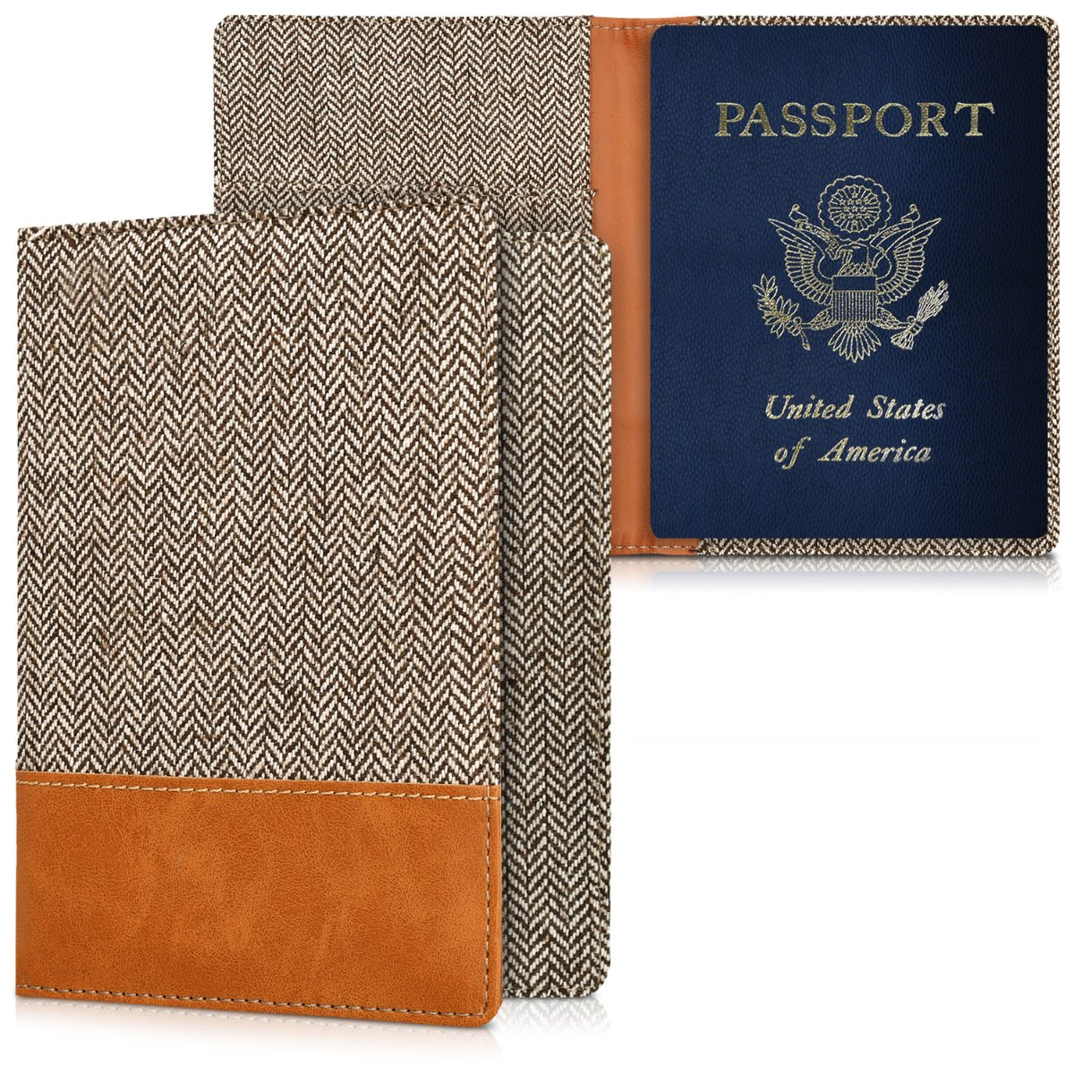 c2604de41b19 kwmobile Passport Holder with Card Slots - PU Leather Passport Cover  Protective Case - Travel Wallet for Men & Women - Dark Grey/Brown