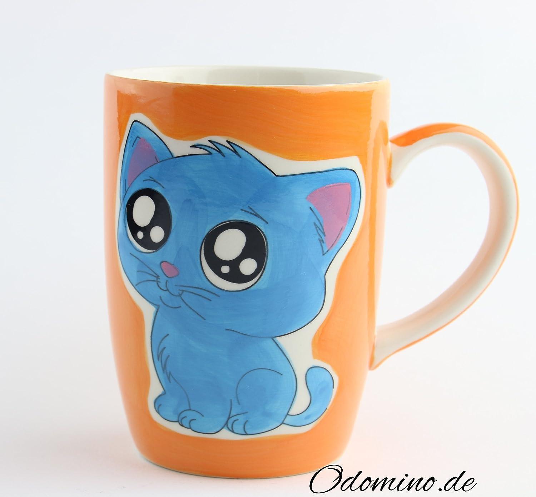 buntes Kindergeschirr Katzenmotiv NEKO Keramik Odomino Fr/ühst/ücksset Tasse // Becher // Kaffeetasse und Schale orange 3er Set blau bestehend aus Teller handbemalt