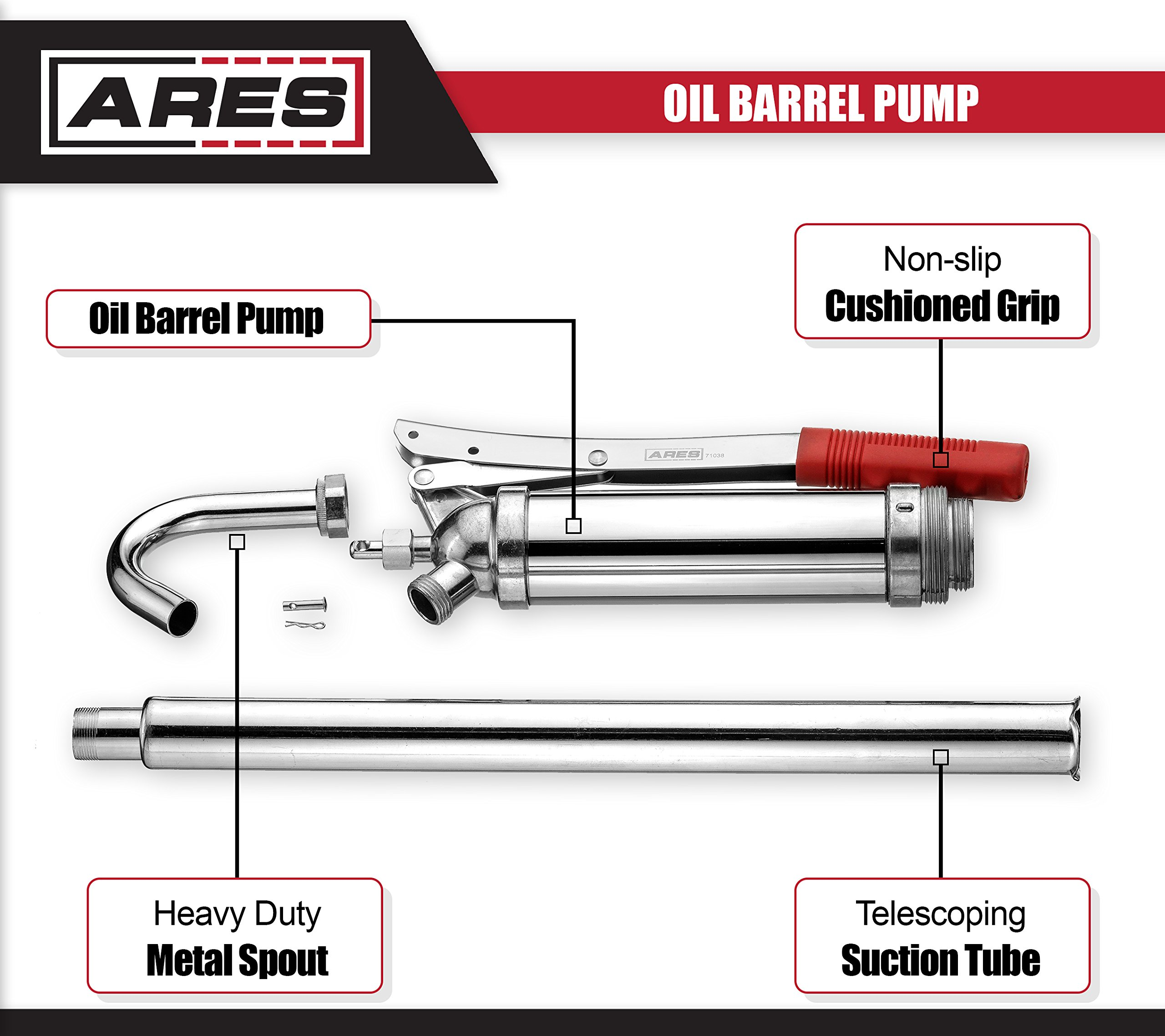 ARES 71038 | Oil Barrel Pump | 2-Piece Telescoping Suction Tube Fits 15-55 Gallon Drums | Designed to Deliver Base Oil, Transmission Oil and Heavier Fluids | Removable Spout Fits Standard Garden Hoses by ARES (Image #2)