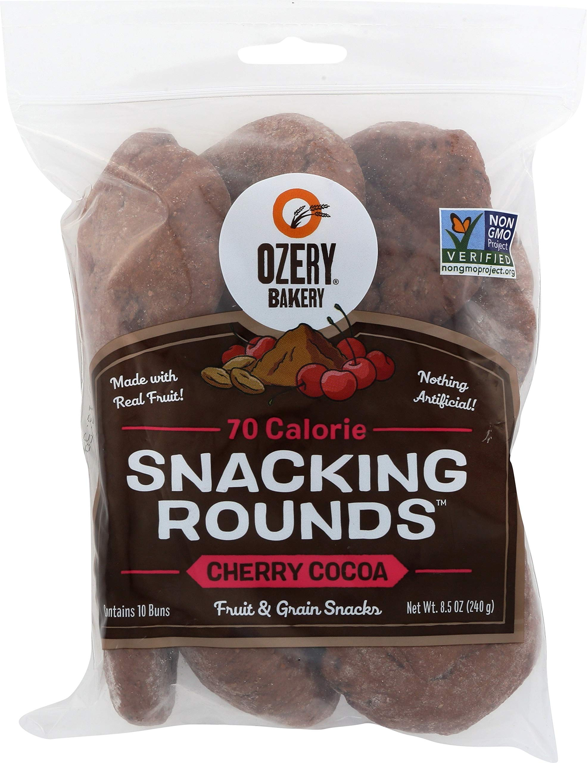 Ozery Bakery Fruit and Grain Snacks, Cherry Cocoa Snacking Rounds, Bite Sized 70 Cal Snack, 8.4 Ounce (pack Of 6)