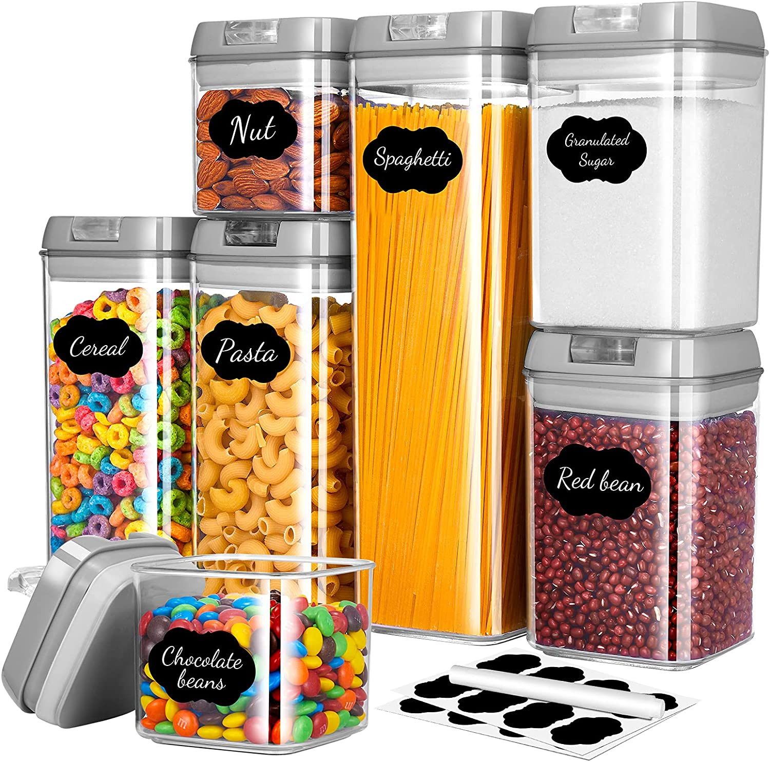 Gesentur Airtight Food Storage Containers with Lids, 7 Pack Plastic Cereal Containers Set for Kitchen Pantry Organization, BPA-Free Clear Storage Canisters with Chalkboard Labels & Pen