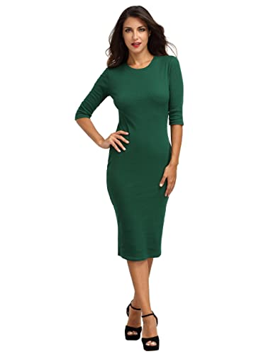 MakeMeChic Women's Solid Half Sleeve Midi Sheath Bodycon Pencil Dress