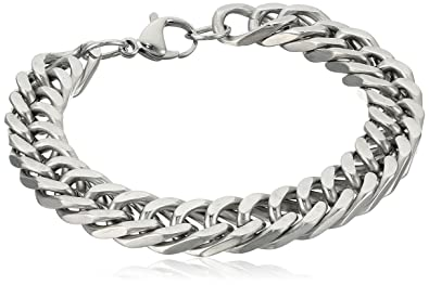 0bd18d98ab603 Crucible Jewelry Mens Stainless Steel Curb Chain Link Bracelet, 8-Inch,  White