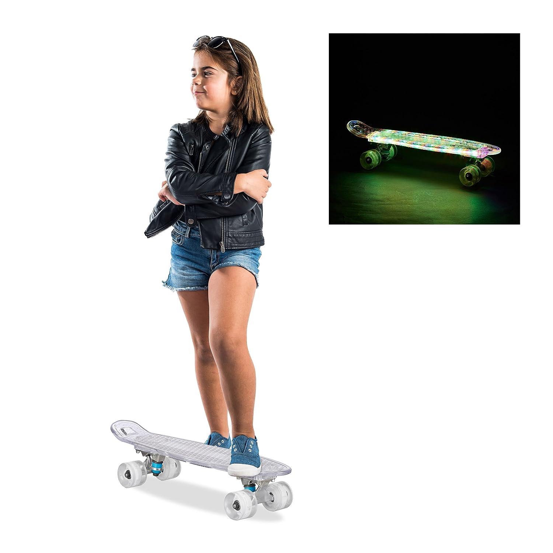 Relaxdays 10022273_47 Skateboard 22 Pollici, Completo, Luminoso, Luci a LED, Trucks in Alluminio, ABEC 7, Rosso