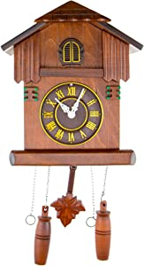 CLEVER GARDEN Large Wooden Traditional Cuckoo Clock House with House & Pendulum   Home & Kitchen Décor   Wall Clock Decoration   Bird Cuckoos on The Hour   Wood