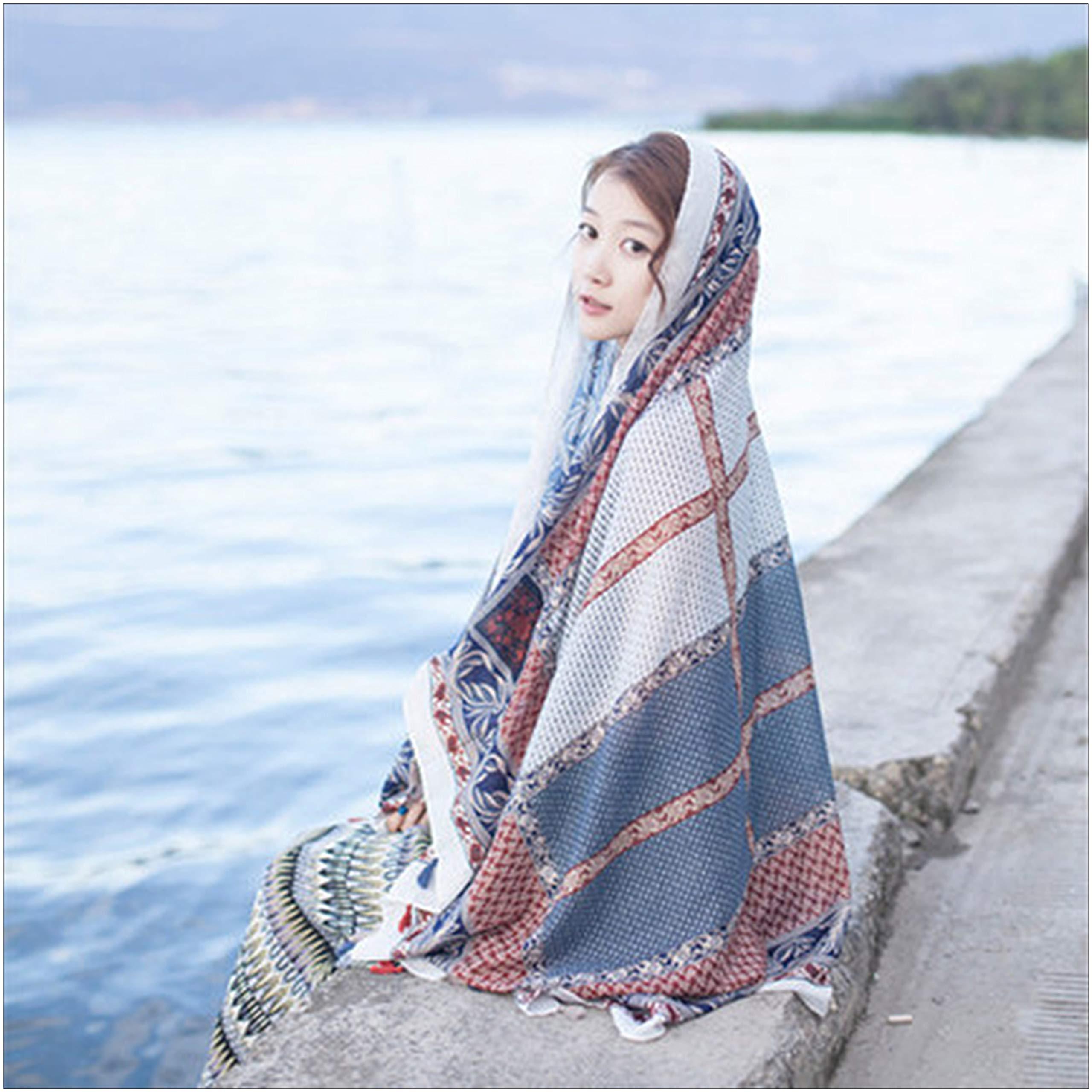 Fashion Women Scarf Joyous Large Soft Cozy Lightweight Sunscreen Shawl Wrap Scarf Pashmina Seaside Travel Beach Towel (Block)