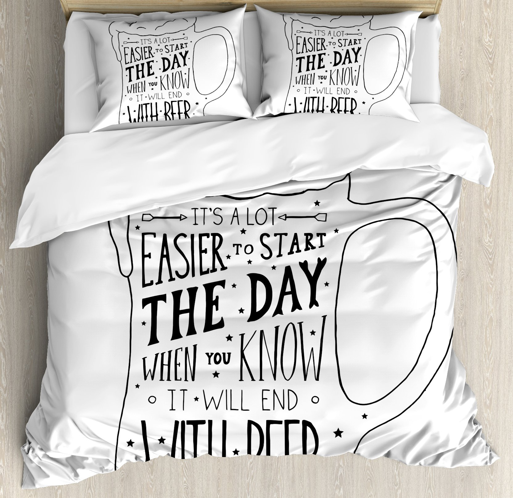 Man Cave Decor King Size Duvet Cover Set by Ambesonne, Typographic Art with Humorous Quotation Beverage Pub Bar Glass Stars, Decorative 3 Piece Bedding Set with 2 Pillow Shams, Black and White