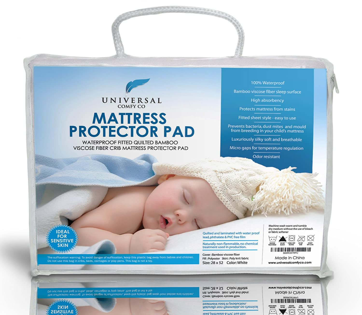 #1 Best Crib Mattress Protector Pad From Bamboo Rayon Fiber ✮ Waterproof Fitted Quilted Comes with FREE BOOK ✮ High Absorbency and Stain Protection Baby Cover Made for Superior Comfort ✮ Prevents Bacteria, Dust Mites an