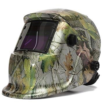 Audew Soldar máscara oscurecimiento automático LCD Soldar caretas Ajustable interior Estilo Camuflaje bosque Enviar tres LCD