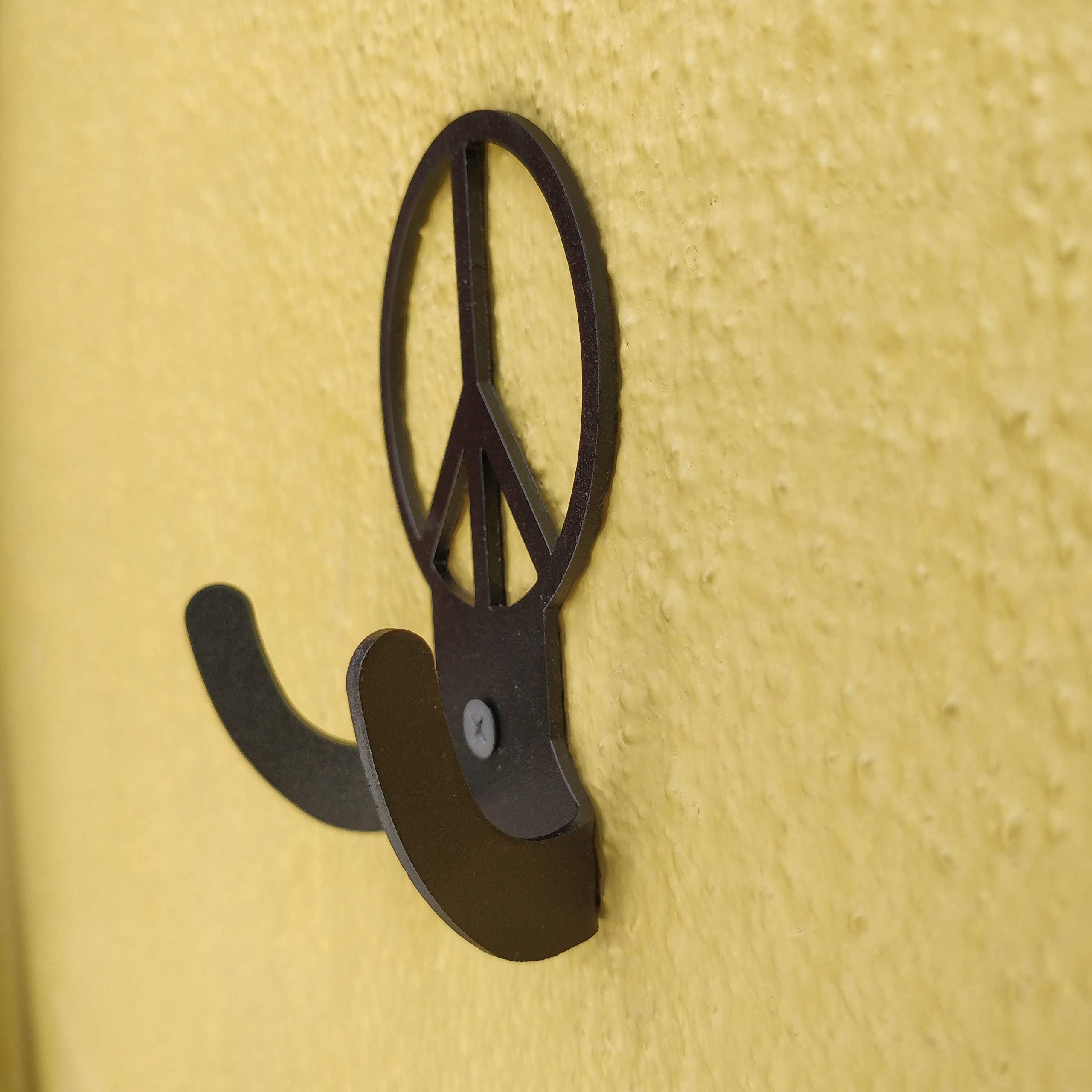 HeavenlyKraft Peacelogo Steel Wall Hook Dual Holder for Living Room Coat Hat Robe Hanger Bathroom Towel Kitchen Strong Heavy Duty Garage Storage Organizer Utensil Hook Single, 4 X 3.14 X 1.4 Inch by HeavenlyKraft (Image #3)