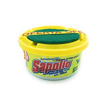 Sapolio Lavavajilla Lemon + Esponja/Sapolio Dishwasher Paste Yellow + Sponge 12.6 Oz.
