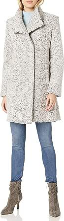 Kenneth Cole Women's Asymmetrical Pressed Boucle Wool Coat, zinc, X-Large