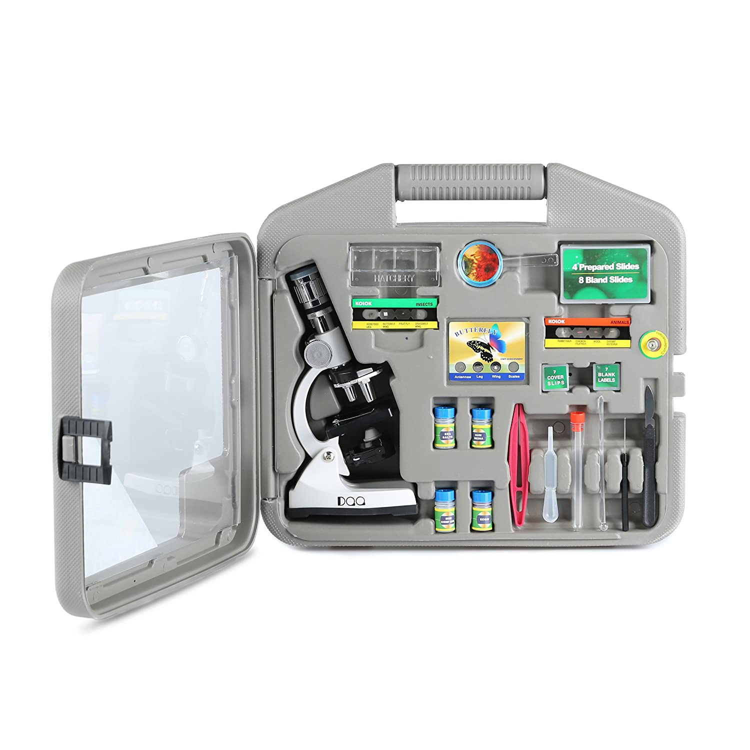 DQQ Microscope for Kids Microscopes for Students with Case and Slides 50X 100X 200X 400X 600X 1200X Magnification LED,Metal Arm and Base .