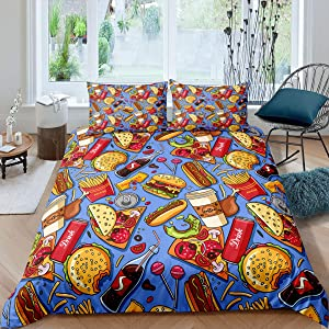 Erosebridal American Fast Food Bedding Set Twin Size Pizza Hotdog Comforter Cover Hamburger Print Duvet Cover for Kids Boys Girls Children Teens French Fries Cartoon Style Colorful Quilt Cover