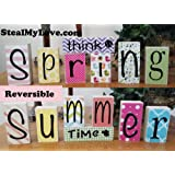 Think Spring - Summer Time: DIY Kit, Unfinished Wood, Vinyl & Paper Spring and Summer Letters Decoration Kit- Reversible Blocks Letters