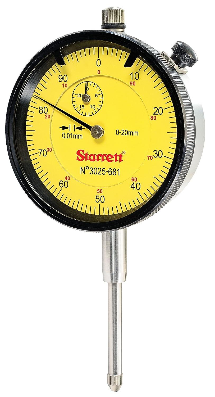 Starrett 3025-681 Dial Indicator Range 20 mm Graduation 0.01 mm Dial Reading 0 to 100 Yellow Face