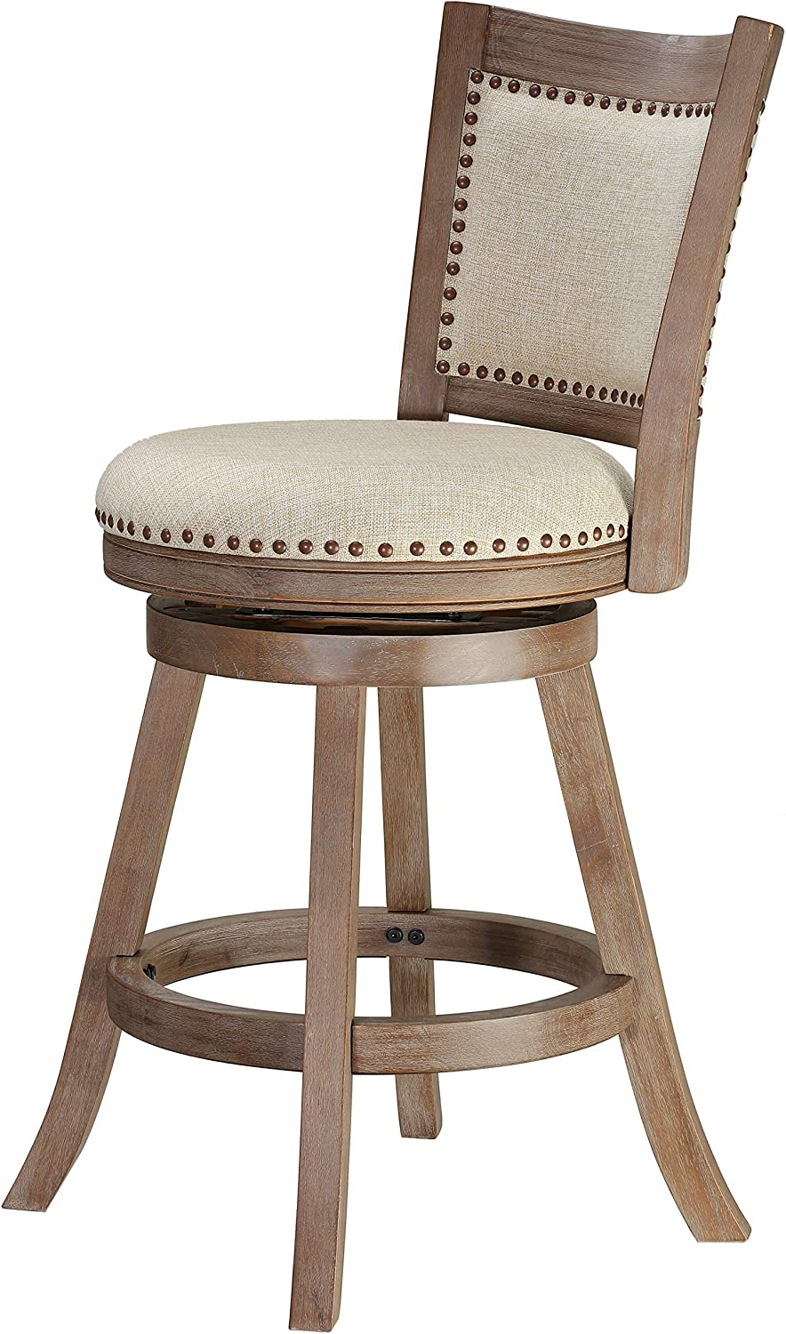 Cortesi Home Marko Stool in Beige Fabric Swivel Seat with Back, 24 Counter Height, Driftwood