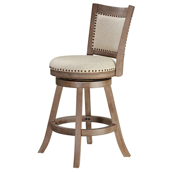 Cortesi Home CH-CS624495 Marko Stool in Beige Fabric Swivel Seat with Back, 24