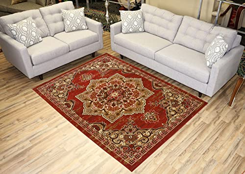 Red Area Rug 4 9 x 6 10 Vintage Medallion Persian Design Traditional Oriental Area Rugs Modela Collection