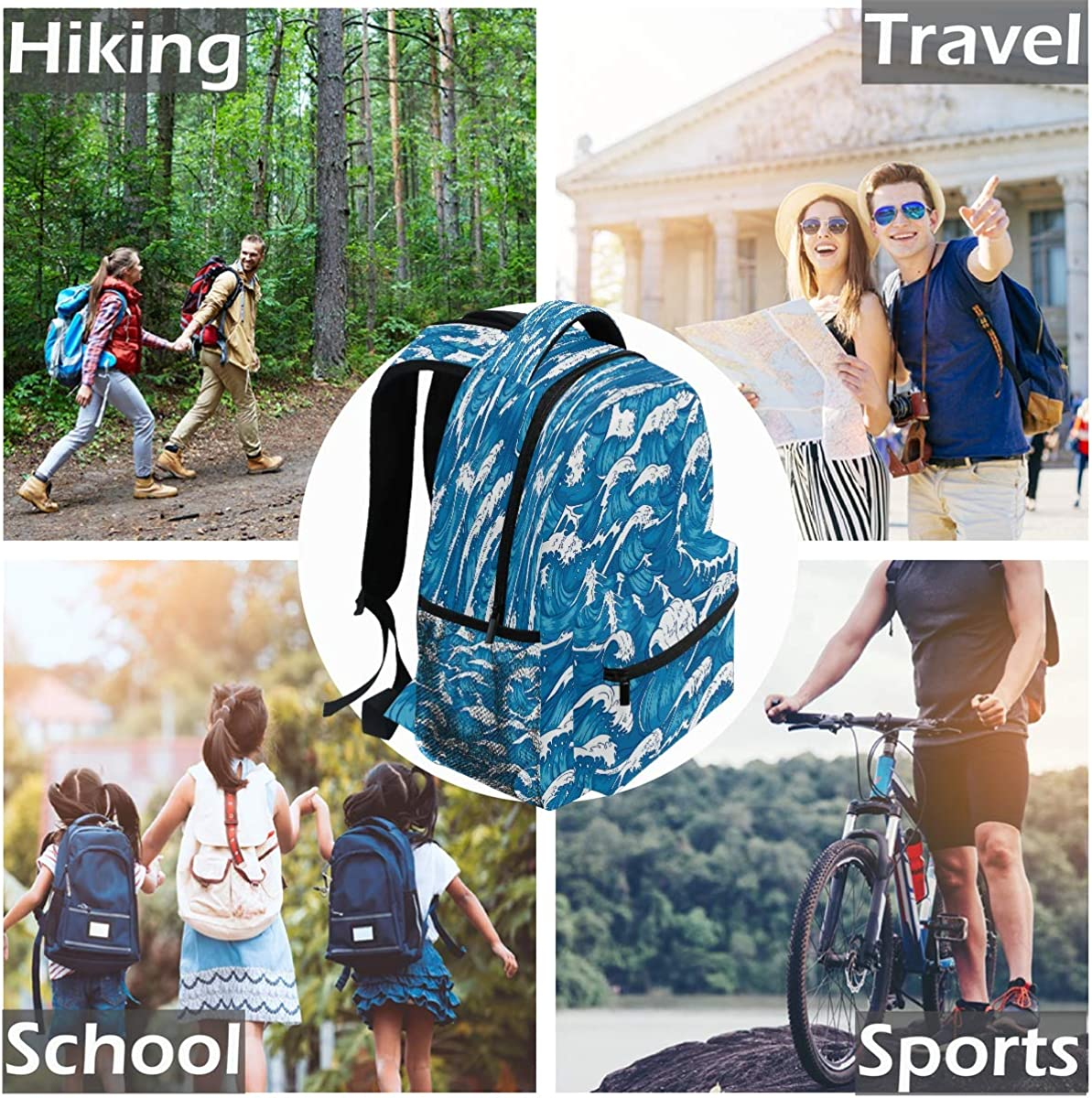 Laptop Backpack Boys Grils Storm Waves School Bookbags Computer Daypack for Travel Hiking Camping