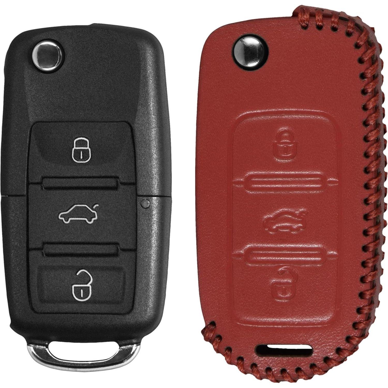 Echtleder stitched Schlüssel Hülle VW Passat 3-Tasten rot Klappschlüssel