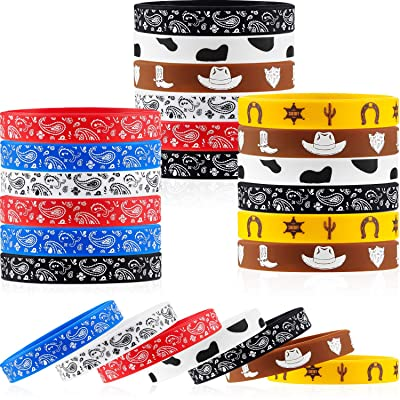 35 Pieces Western Party Bracelets Cowboy Rubber Bracelets Silicone Stretch Wristbands for Western Themed Parties Boys Girls Birthday Parties: Toys & Games