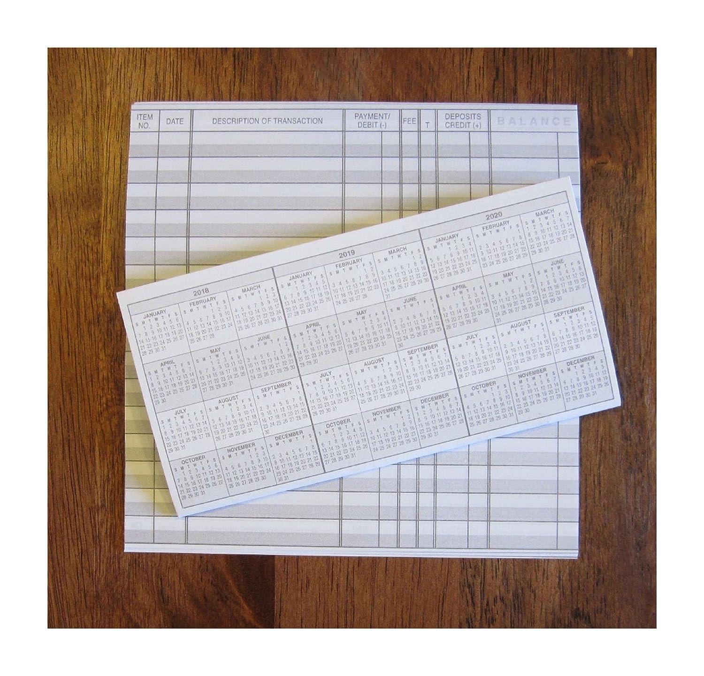 4小切手帳トランザクションregistersカレンダー2018 2019 2020チェック