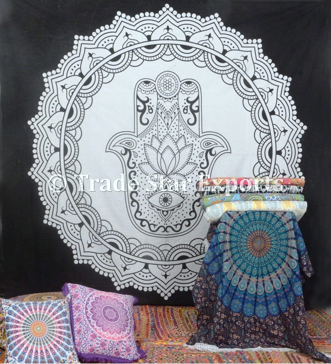 Indian Ethnic Tapestry, Hamsa Hand Tapestry Wall Hanging, Black and White Tapestry, Decorative Wall Art, Bohemian Wall Decor, Cotton Throw , Psychedelic Art, Dorm Room Decor Pattern 3