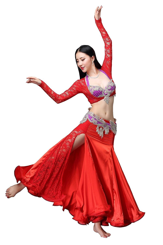 RIKOUZY 豪華なベリーダンス衣装4点セット 3色選べる ビーズ刺繍プロ仕様ダンス服 高級演出服 ブラジャー スカート 腰ベルト コスチューム B077PYMD7J L|レッド×パープル レッド×パープル L