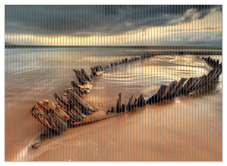 70 x 50 cm Wallario Duschmatte Antirutschmatte Badmatte Fu/ßmatte Bootswrack in Irland am Strand Gr/ö/ße ca