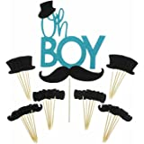 Shxstore Oh Boy Cake Topper Mustache Hat Bowtie Cupcake Picks For Baby Shower Birthday Party Decorations Supplies, 31 Counts