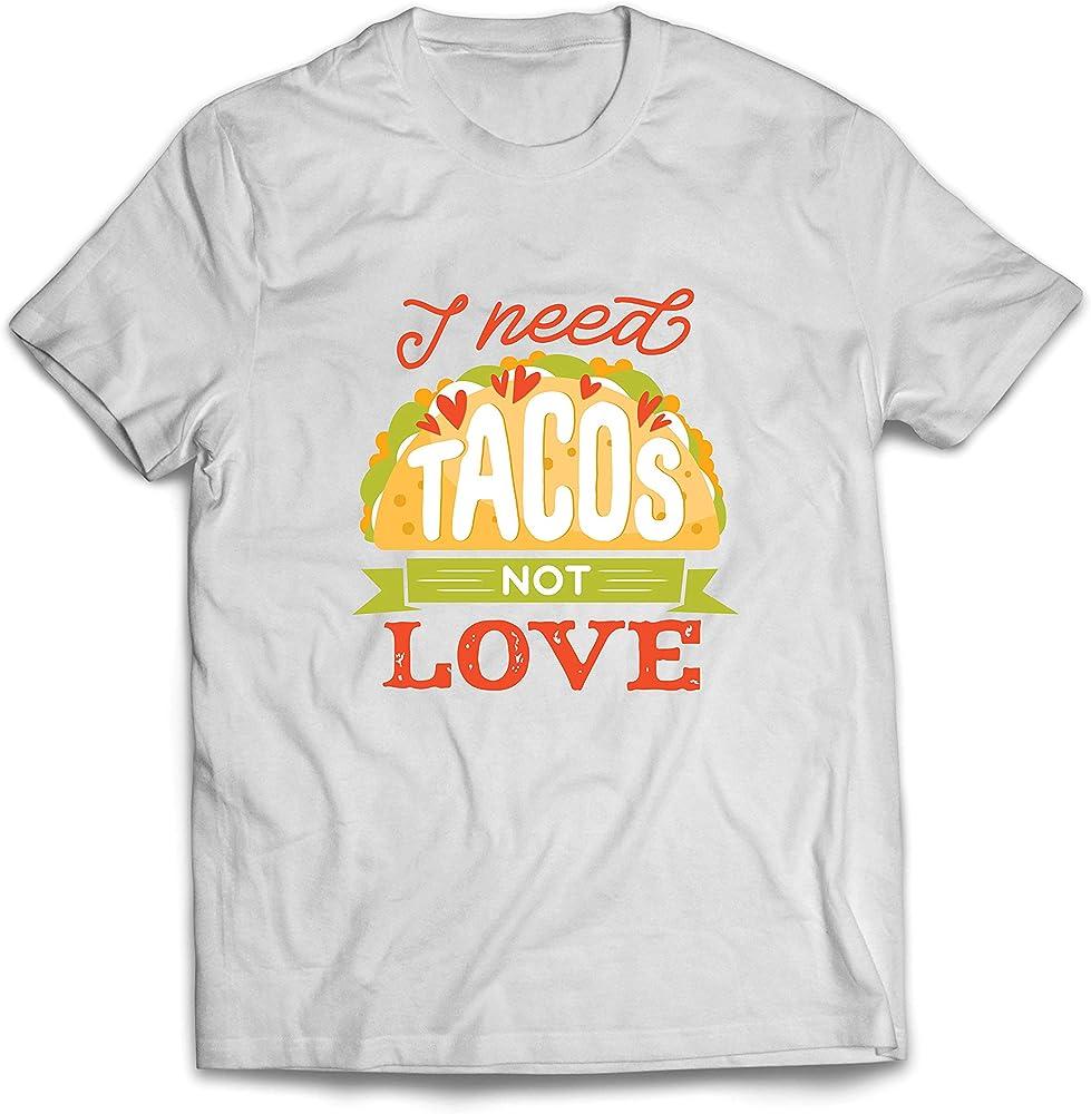 lepni.me Camisetas Hombre Necesito Tacos No Me Gusta La Comida Mexicana Graciosa Cotización de Comida (Small Blanco Multicolor): Amazon.es: Ropa y accesorios