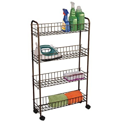 Bronze 4 Tier Slim Rolling Cart