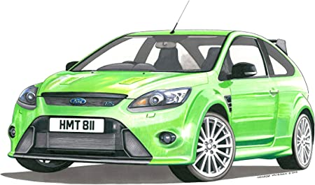 George Morgan Illustration Ford Focus Rs Mk2 Greeting Card A5 Size Amazon Co Uk Kitchen Home