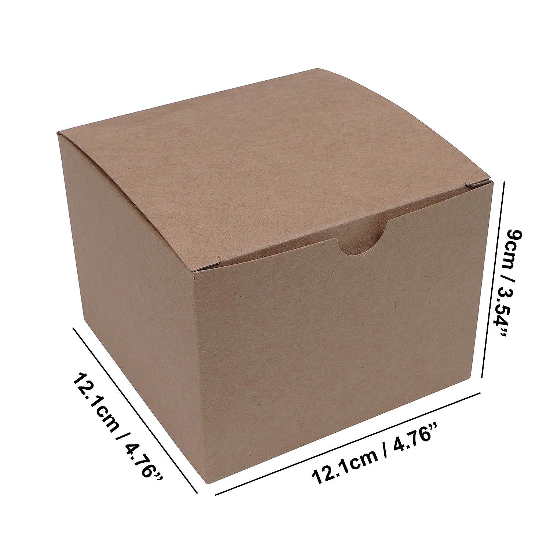 Pack de 20 Festivales Cajas Rusticas Almacenamiento para Chocolates Caja Presentaci/ón Vintage 12,1 x 12,1 x 9cm Cajas Cart/ón kraft Marr/ón Regalos y Joyas- Fiestas - Cajas Regalo Cart/ón