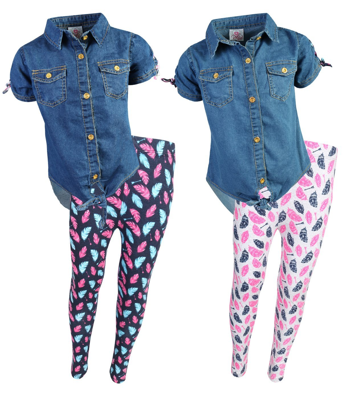 Real Love Little Girls 4-Piece Denim Top and Legging Set, Feathers, Size 5/6