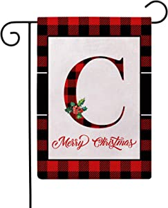 Christmas Plaid Decorative Garden Flags with Monogram Letter C Double Sided Farmhouse Red/Black Buffalo Plaid Winter Holiday Outdoor Garden Flags 12.5×18 Inch for House Garden Yard Patio Decor (C)