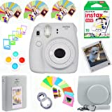 Fujifilm Instax Mini 9 Film Camera (Smokey White) + Film Pack(10 Shots) + Photix Pleather Case + Filters + Selfie Lens + Albu