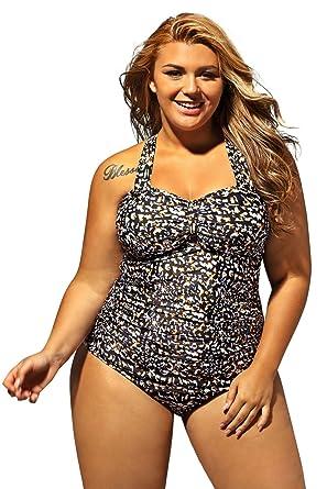 8972e69a1ff02 Lalagen Women s Retro Vintage Hollow Out Two Piece Swimwear Set Plus Size  Swimsuit Cheetah XL
