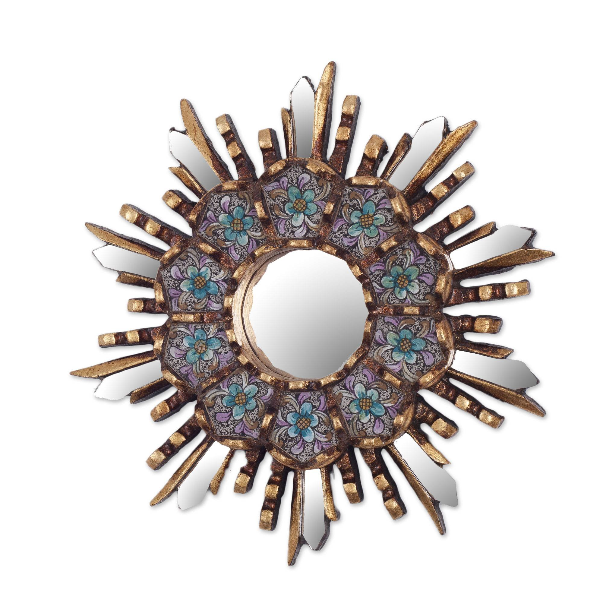 NOVICA Blue Floral Reverse Painted Glass Bronze Leaf Starburst Wall Mounted Mirror, Cuzco Meadow'