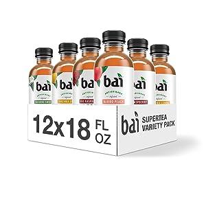Bai Iced Tea, Supertea Variety Pack, Crafted with Black Tea and White Tea, 18 Fluid Ounce Bottles, 12 count, 3 each Narino Peach Tea, Paraguay Passionfruit Tea, Rio Raspberry Tea, Tanzania Lemon Tea