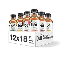 Bai Iced Tea, Supertea Variety Pack, Crafted with Black Tea and White Tea, 18 Fluid Ounce Bottles, 12 count, 3 each Socorro Sweet Tea, Narino Peach Tea, Tanzania Lemonade Tea, Rio Raspberry Tea