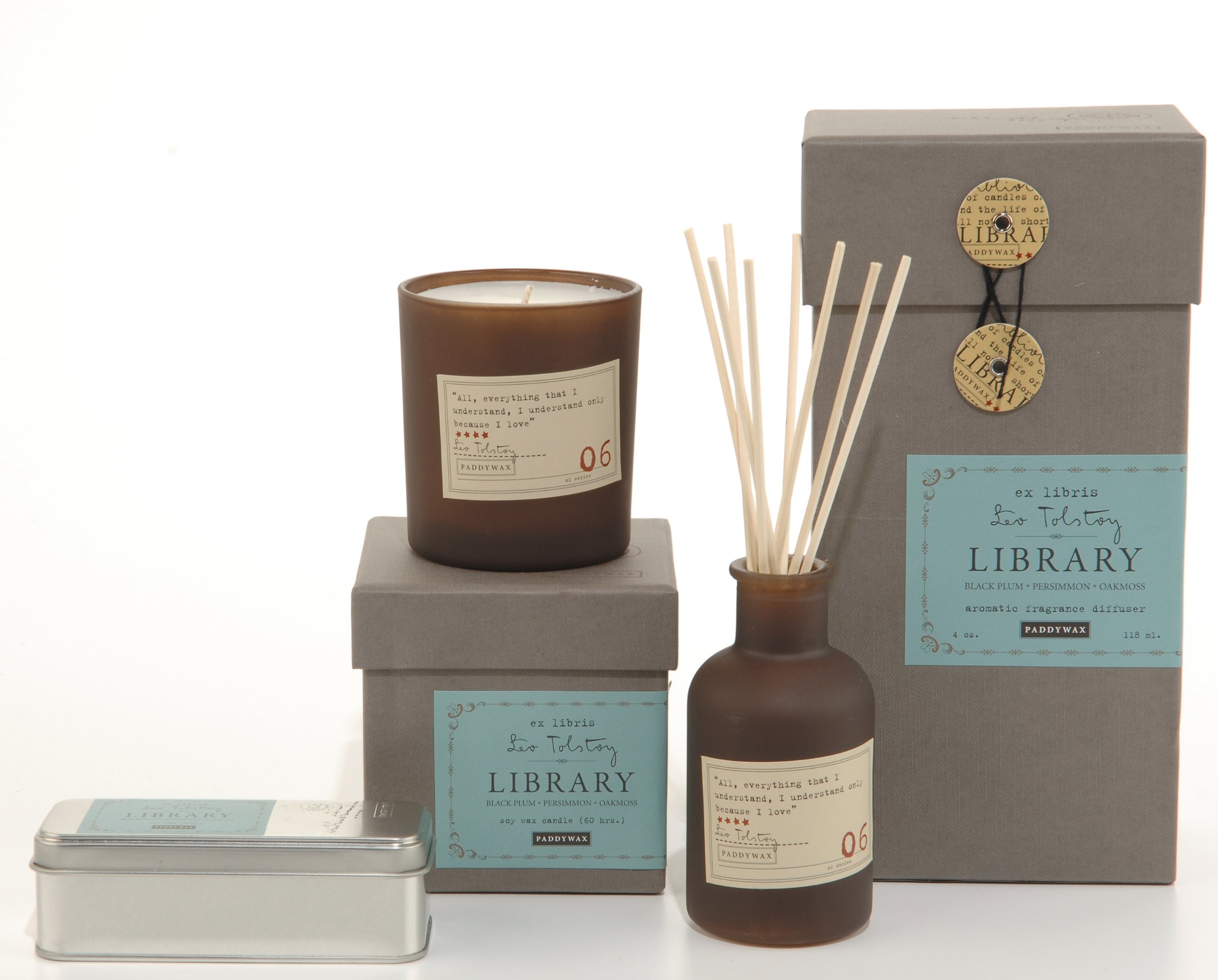 Paddywax Library Collection Leo Tolstoy Scented Soy Wax Candle, 6.5-Ounce, Black Plum, Persimmon & Oakmoss
