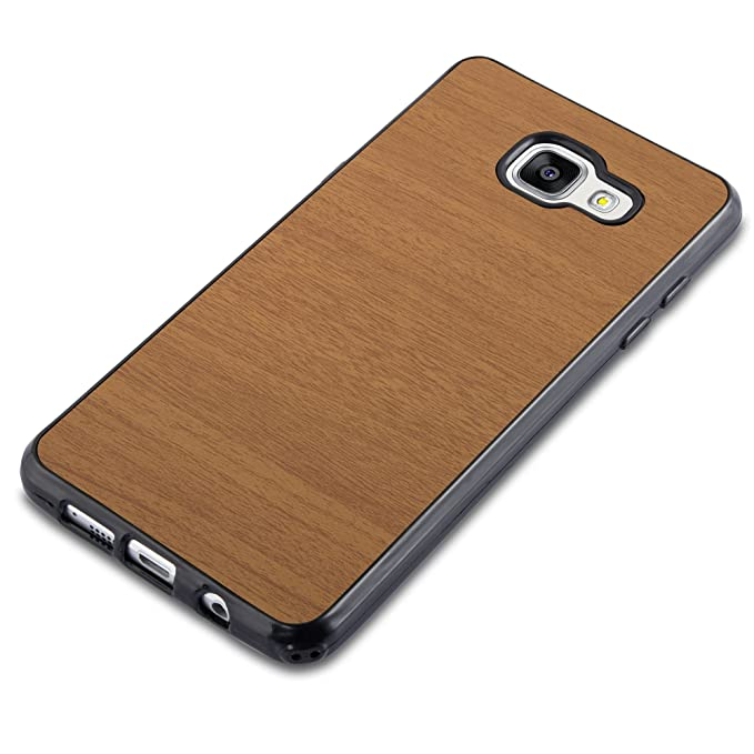 Cadorabo Case Works With Samsung Galaxy A3 2016 In Wooden Brown – Shockproof And Scratch Resistant Tpu Silicone Cover – Ultra Slim Protective Gel Shell Bumper Back Skin by Cadorabo