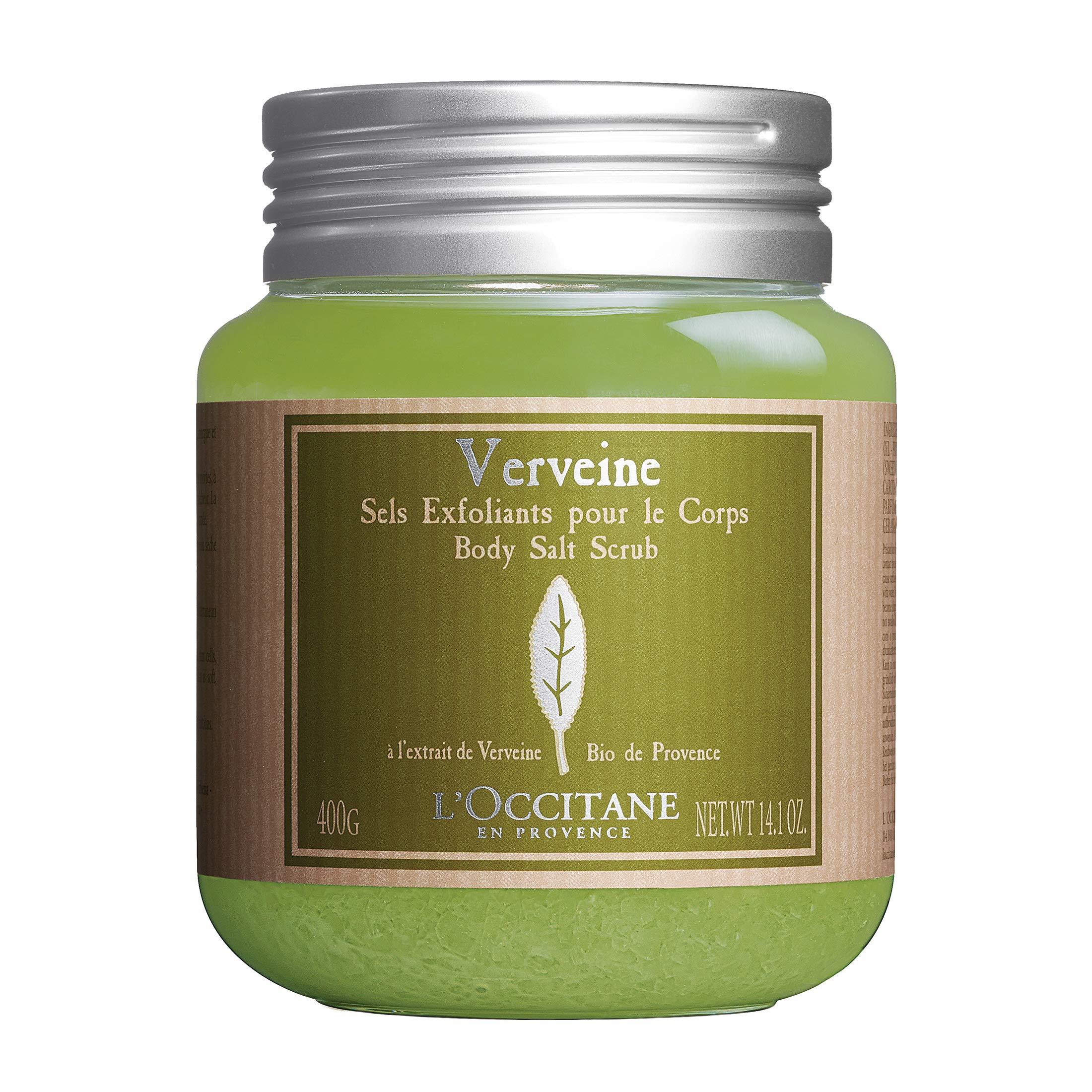 L'Occitane Verbena Body Salt Scrub with Organic Verbena, Sweet Almond Oil & Apricot Oil, 14.1 oz.