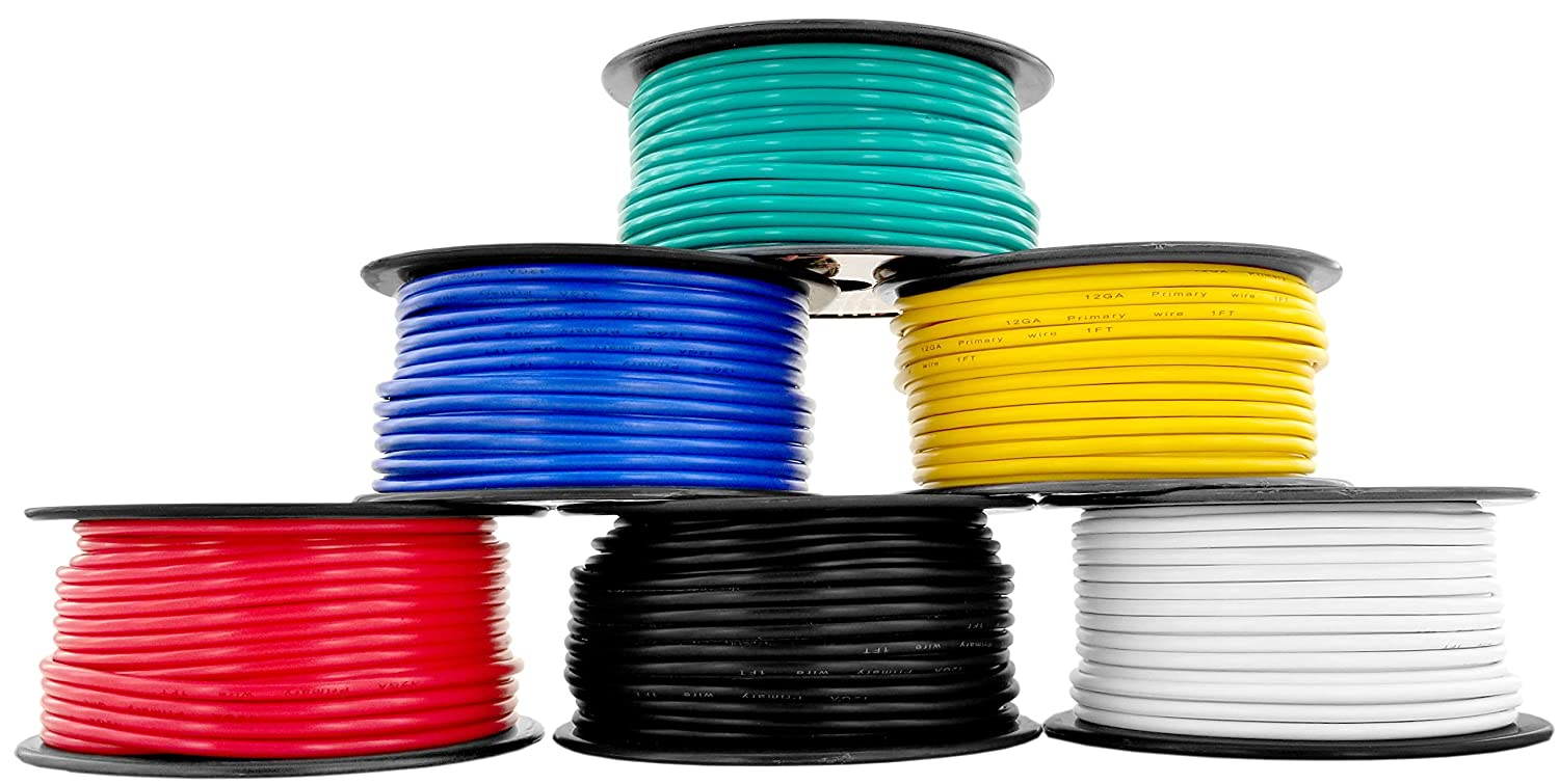 GS Power 12 Gauge, 6 Rolls of 100 Feet (600 ft Total) Primary Wire. CCA Cable for Car Audio Stereo Amplifier Remote Automotive Trailer Signal Wiring. Color: Black Red Blue Yellow White Green